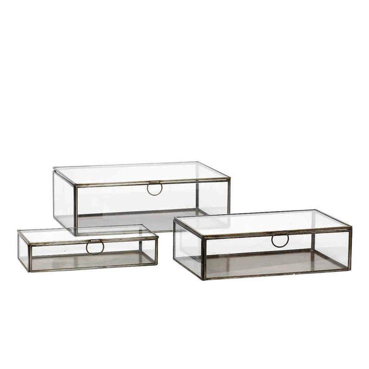 schaukasten flach im 3er set mit messingrahmen von. Black Bedroom Furniture Sets. Home Design Ideas