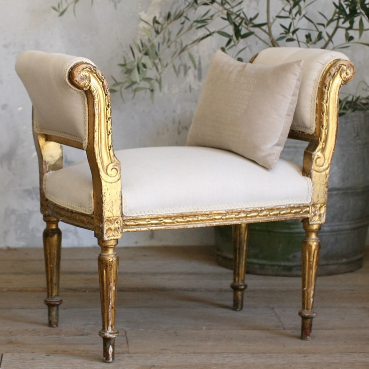 One of a Kind Vintage Banquette Louis XVI Scroll from @LaylaGrayce #laylagrayce #gold #bench