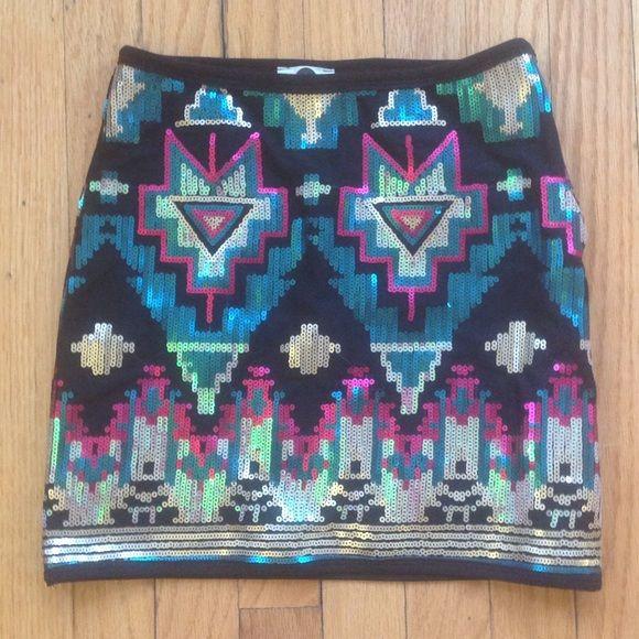 "J&M clothing Aztec sequin skirt J&M clothing Aztec sequin skirt so sexy on. Waist 26"" hips 30"" length from waist to hem 15.5"" J & M  Skirts Mini"