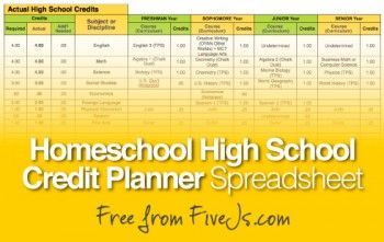 Free Homeschool High School Credit Planner