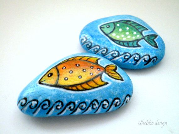 Naranja verde peces pintado piedras azules arte por ShebboDesign