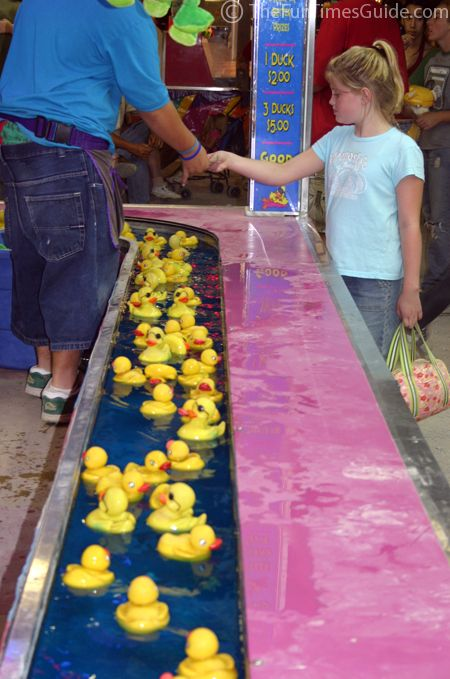 Floating ducks at the fair