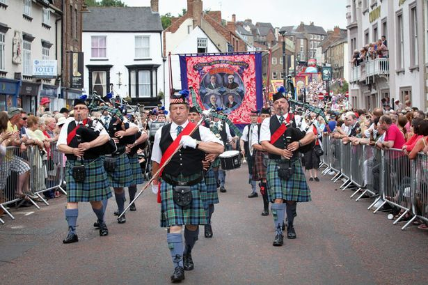 Durham Miner's Gala 2013 when I was Pipe Major of the band.  Leading in Eldon Drift's banner.