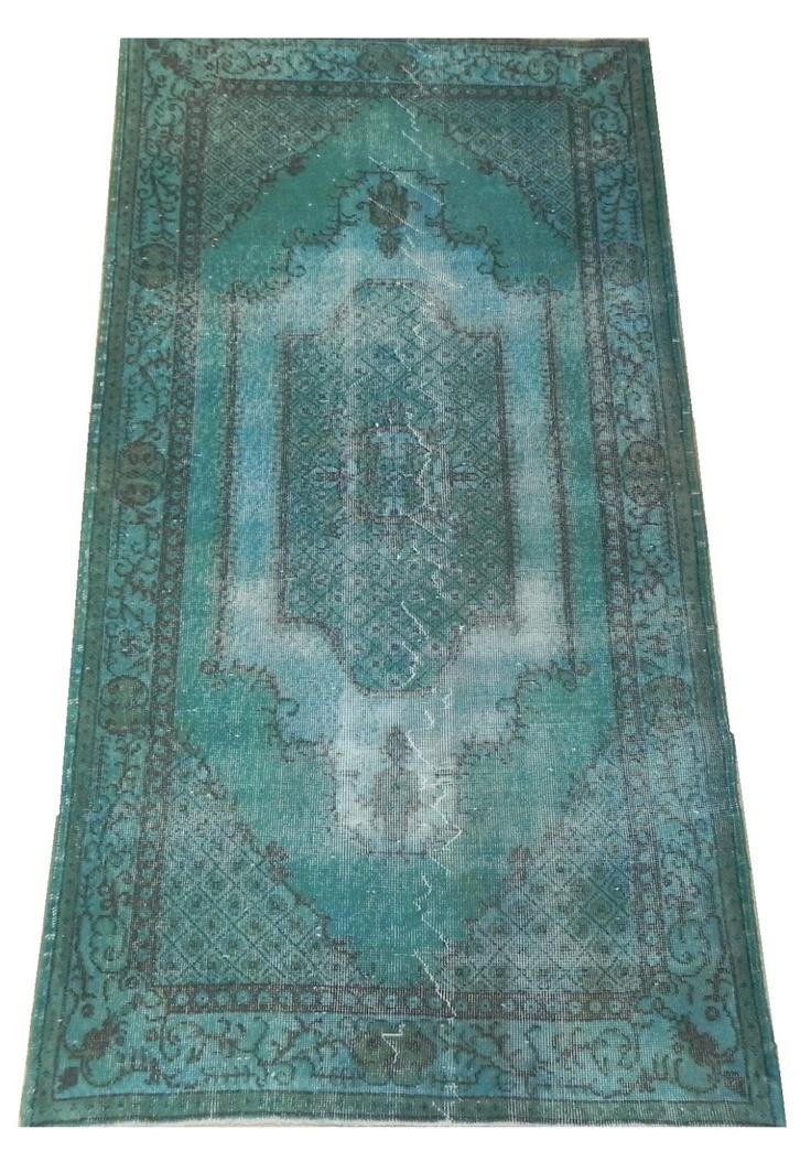 Overdyed Vintage Turquoise Turkish Rug Distressed Handmade Carpet 4 X 7 Ft Free