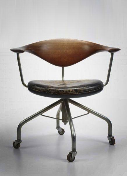 HANS WEGNER Swivel desk chair by Johannes Hansen Denmark, 1955, teak, leather, chrome-plated steel // this is amazing. someone make this please