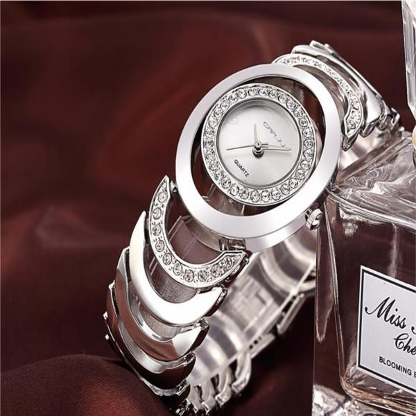 CRRJU 2201 Luxury Women Quartz Bracelet Watch Fashion Rhinestones Ladies Dress Watch
