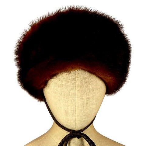 Toque fourrure vison avec lanieres marron face