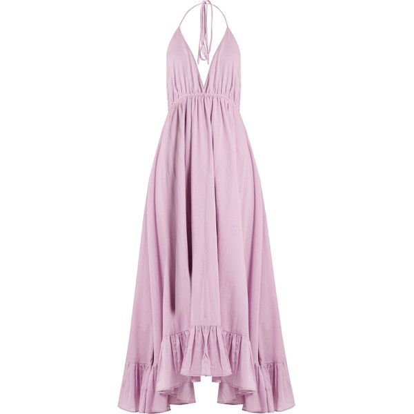 Loup Charmant Miami cotton dress (£225) ❤ liked on Polyvore featuring dresses, gown, long dresses, vestidos, light purple, handkerchief hem dress, pink dress, lavender dress, frill dress and long cotton dresses