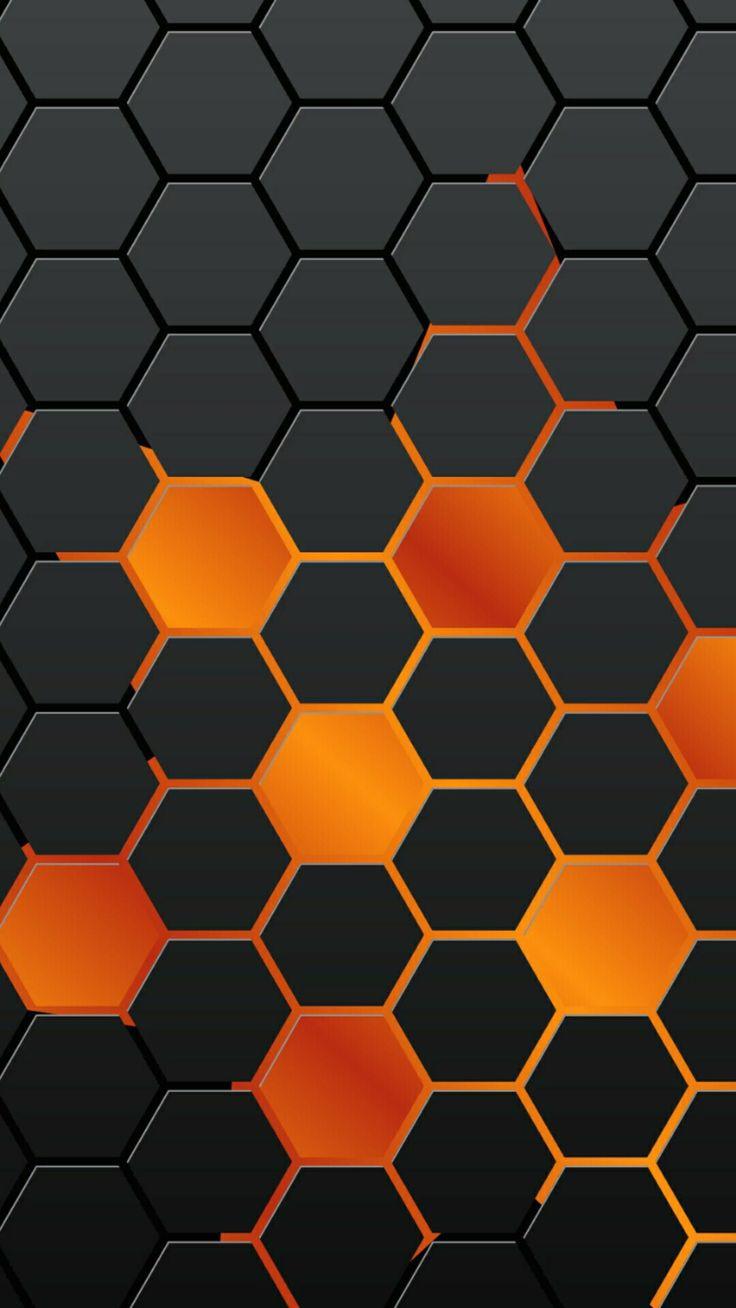 iPhone wallpaper background orange black octagon pattern #iphone 7 8 X iPhone wallpaper background orange black octagon pattern <a class=