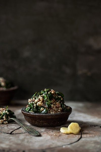 Quinoa with Spinach, Lemon and Ginger - One Girl in the Kitchen (English and Italian versions)