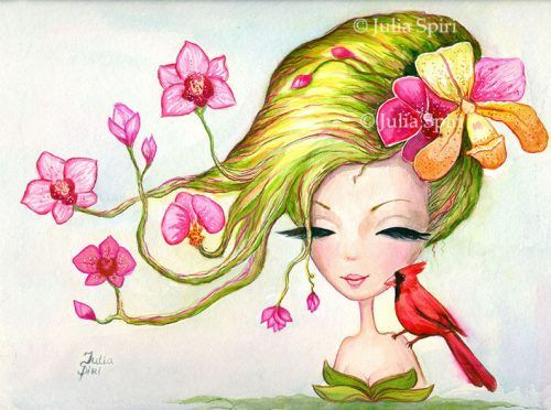 "Available Original Painting ""Exotic Flowers""Watercolor on paper.Size: 9.5 x 12.7 inches (24cm x 32cm)"
