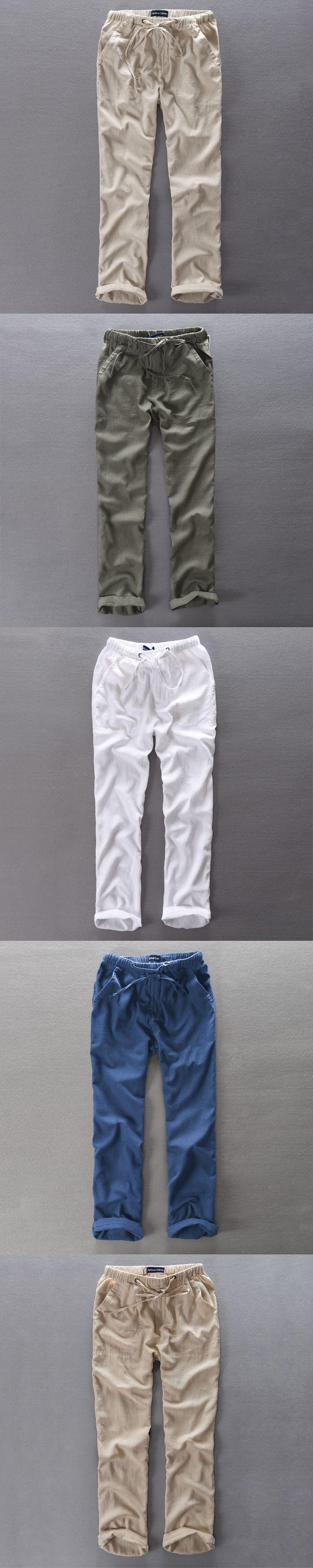 Men's Summer Casual Pants Natural Cotton Linen Trousers White Linen Elastic Waist Straight Joggers Pants Y234