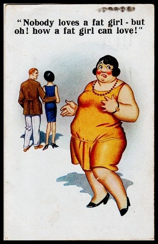 C-1927 Signed McGill social romance comic postcard Nobody loves a fat girl