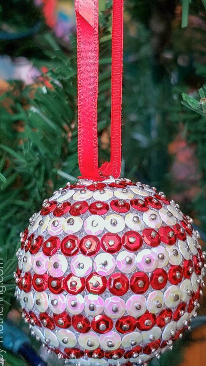 DIY Candy Cane Striped Sequin Christmas Ornament in 2020