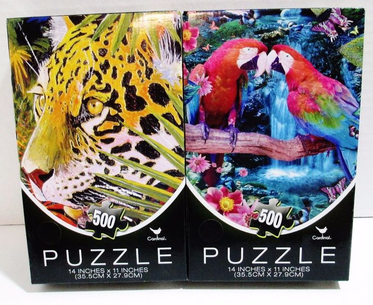 2 Cardinal 500 Piece Jigsaw Puzzles - 2 Parrots On A Branch & Leopard in Jungle #CardinalIndustries ..... Visit all of our online locations ..... (www.stores.eBay.com/variety-on-a-budget) ..... (www.amazon.com/shops/Variety-on-a-Budget) ..... (www.etsy.com/shop/VarietyonaBudget) ..... (www.bonanza.com/booths/VarietyonaBudget ) .....(www.facebook.com/VarietyonaBudgetOnlineShopping)