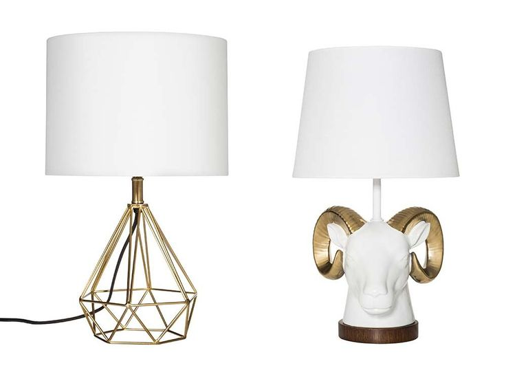 gold diamond and gold ram target table lamps. yass.