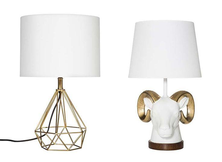 Room Essentials Geometric Metal Table Lamp ($25). Room Essentials Ram Head Lamp ($30).                   Im...