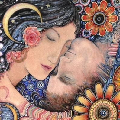 Il sole e la luna romantica arte stampa di amanti.