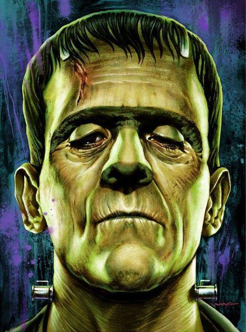 Frankenstein's monster - Boris Karloff - Universal horror, artwork by Jason Edmiston