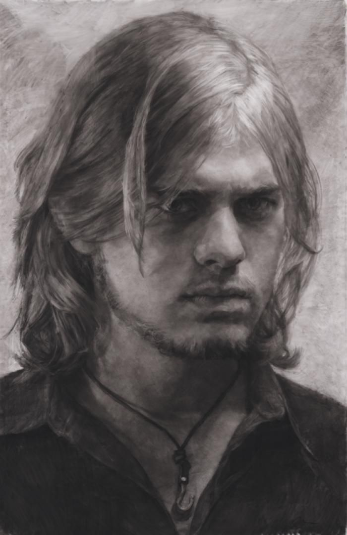 Mary Borgman Portrait of Michael Nanna charcoal on mylar h 63 w 42 inches