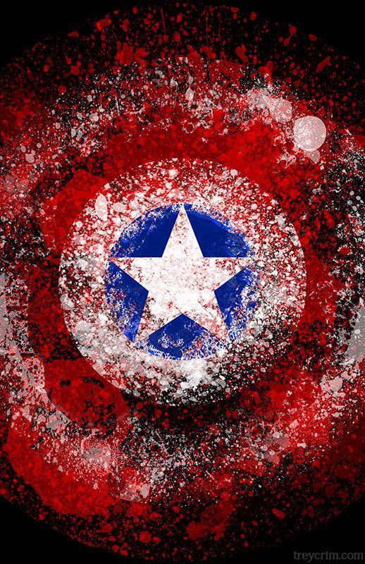 captain america - splatter art poster