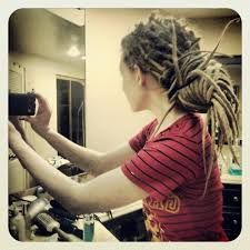 dreads. Low knot
