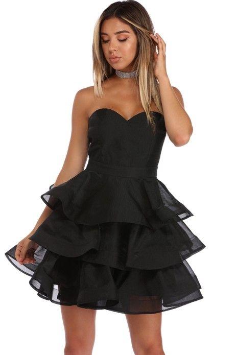 Sammy Black Strapless Tiered Party Dress | WindsorCloud