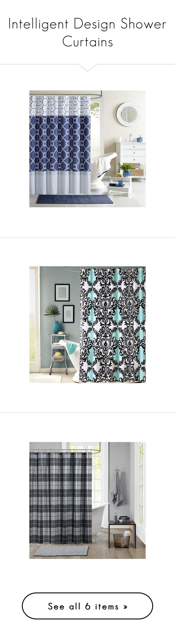 """""""Intelligent Design Shower Curtains"""" by designerliving ❤ liked on Polyvore featuring home, bed & bath, bath, shower curtains, navy, navy shower curtains, navy blue shower curtains, modern shower curtains, aqua and aqua shower curtains"""