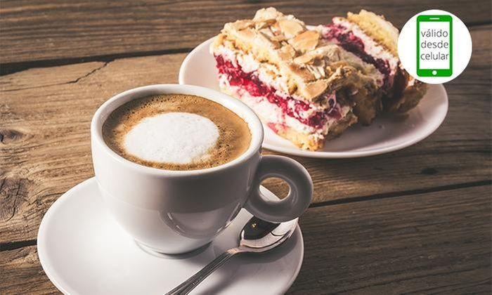 Desayuno u once para dos o cuatro con té, café o chocolate caliente + sándwich + jugo natural + trozo de torta en Tropical Juice