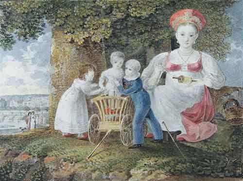 Е.Есаков. Кормилица с детьми в Марьинской усадьбе. 1823. Бумага, акварель. Из альбома С.В.Строгановой