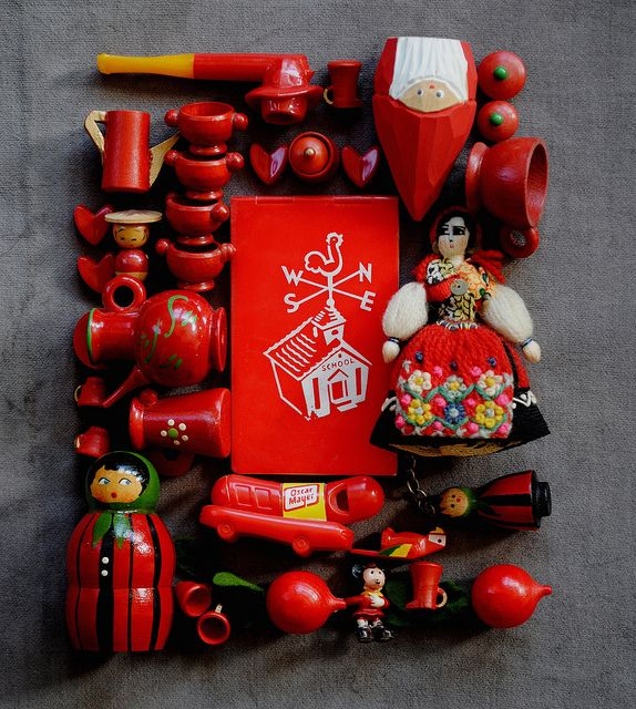 red dolls + toys by bricolagelife, via Flickr
