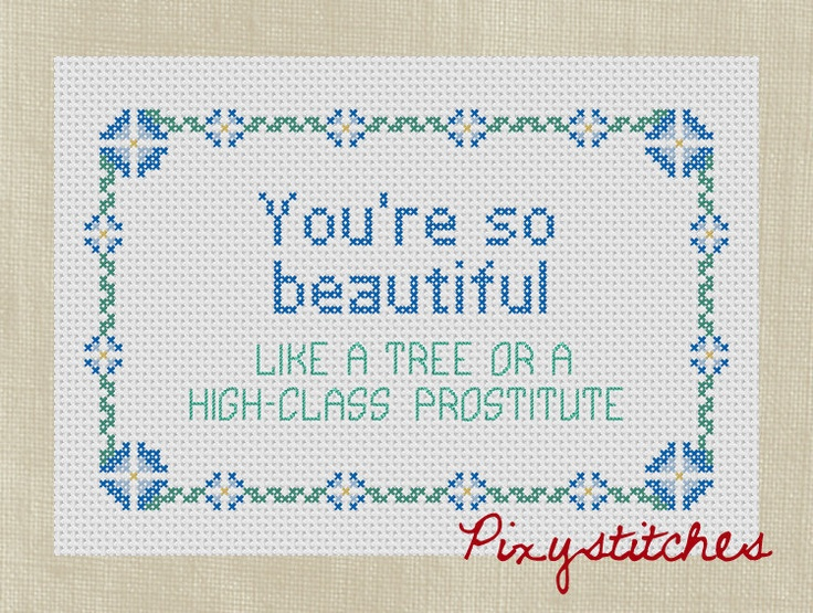 Flight of the Conchords quote  You're So Beautiful by pixystitches, $3.50
