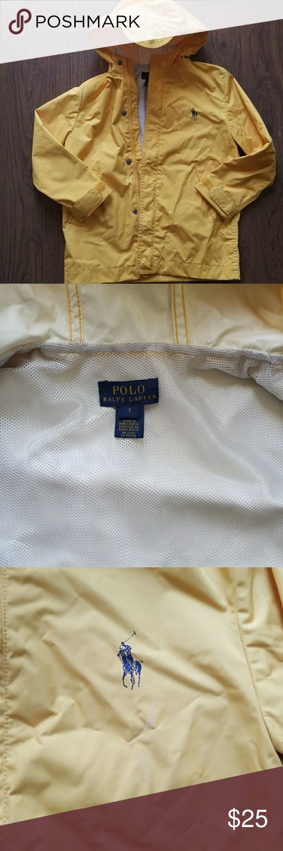 Polo Ralph Lauren little boys rain jacket Yellow size 7 hooded rain jacket with mesh lining. Very slight areas of discoloration. Overall, in good condition. Son's name was written on interior of jacket. Polo by Ralph Lauren Jackets & Coats Raincoats