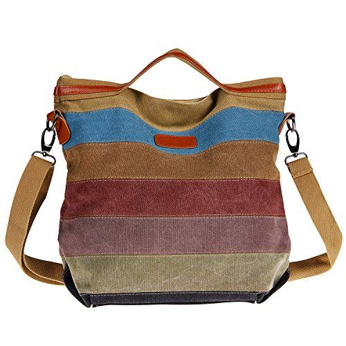 Unives Retro Canvas Handbag Carryon Purse Oversized Casual Shoulder Bag Cross body Hobo Tote Large Shopper Satchel Everyday Use for Sale Outlet Multicolored -- Click image to review more details.