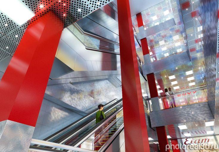 3D визуализация интерьера торгового центра   заказчик: Моспроект