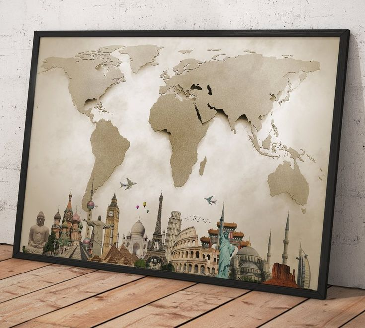 102 best world map wall arts images on pinterest contemporary beautiful world map 0702 canvas print gumiabroncs Gallery