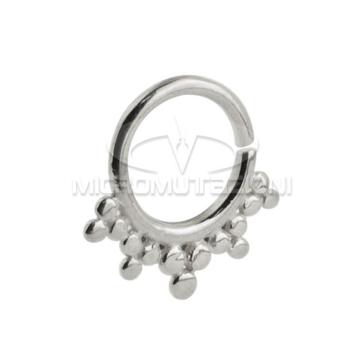 Piercing in argento 925 al setto nasale, piercing septum con ornamenti stile India, realizzato a mando Made in Italy di Micromutazioni su Etsy
