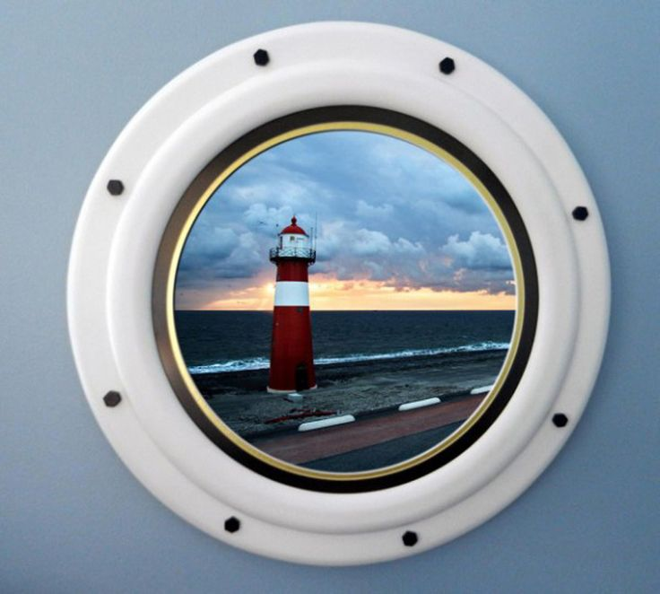 round nautical picture frame made to look like a ship porthole - Nautical Picture Frame