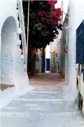 VISIT GREECE| Astypalaia  Around the castle of the island lie Chora's houses with whitewashed walls, blue doors and windows, and wooden balcony rails.