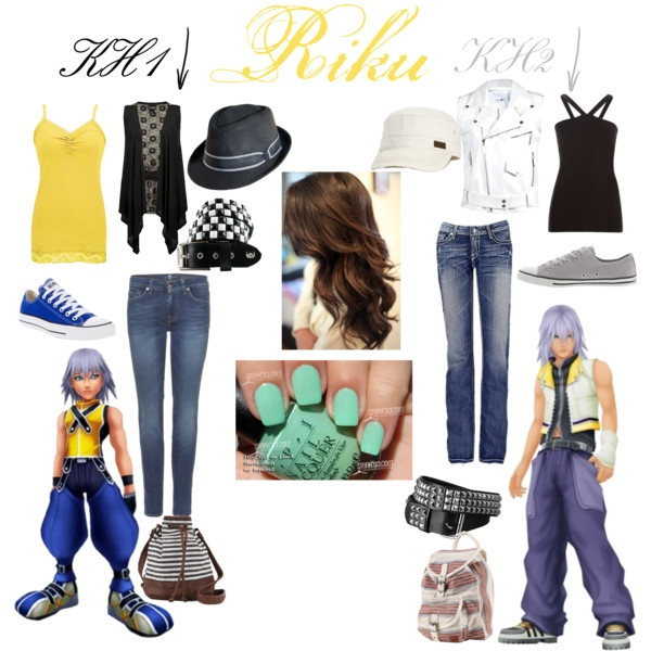Riku(Kingdom Hearts), created by scarletwolf on Polyvore...things in the middle of this type of collages are for both outfits.(the nail polish to match his eyes*I'm a Riku fan my self XD*)