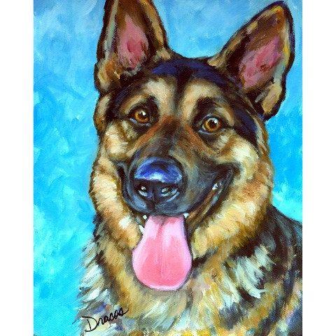"""German Shepherd Dog Art 8x10 Print Painted Dottie Dracos """"Smiling German Shepherd""""."""