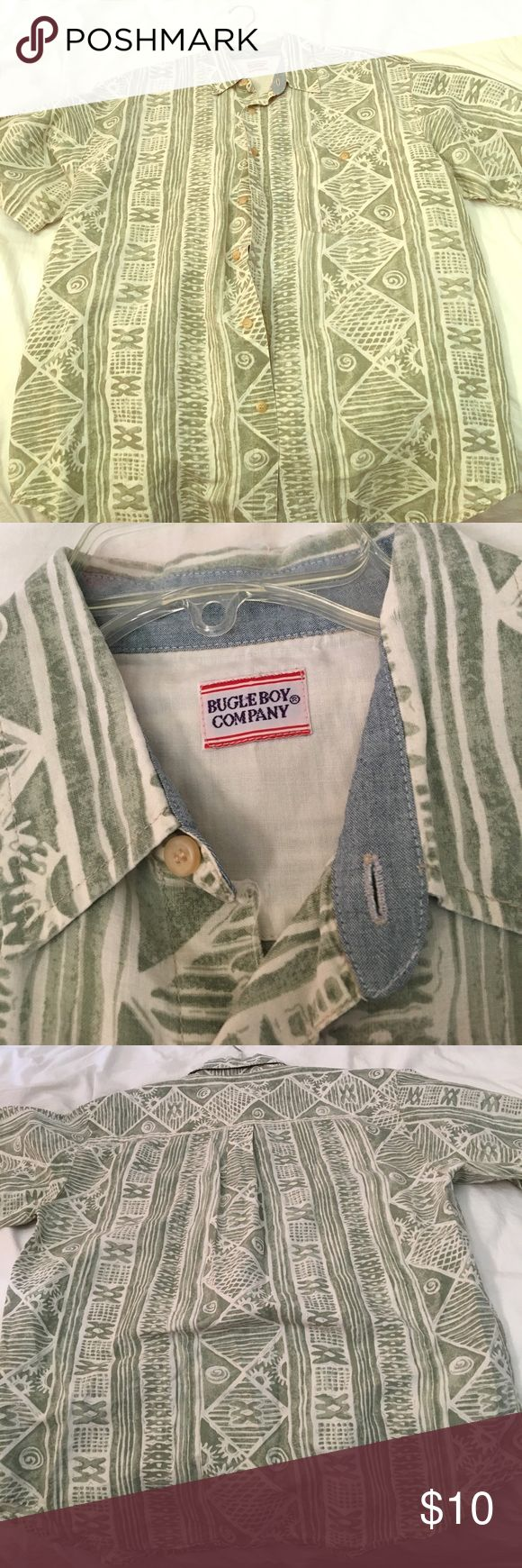 Bugle Boy Hawaiian shirt Button front short sleeve, pre-owned Bugle Boy Company Shirts Casual Button Down Shirts