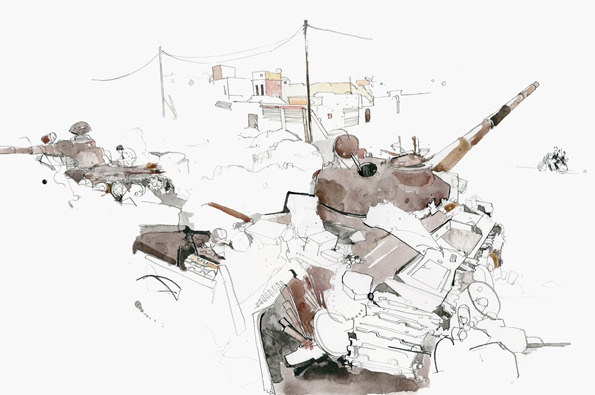 http://www.itsnicethat.com/articles/george-butler-syria  documenting of the crisis in Syria by illustrator George Butler