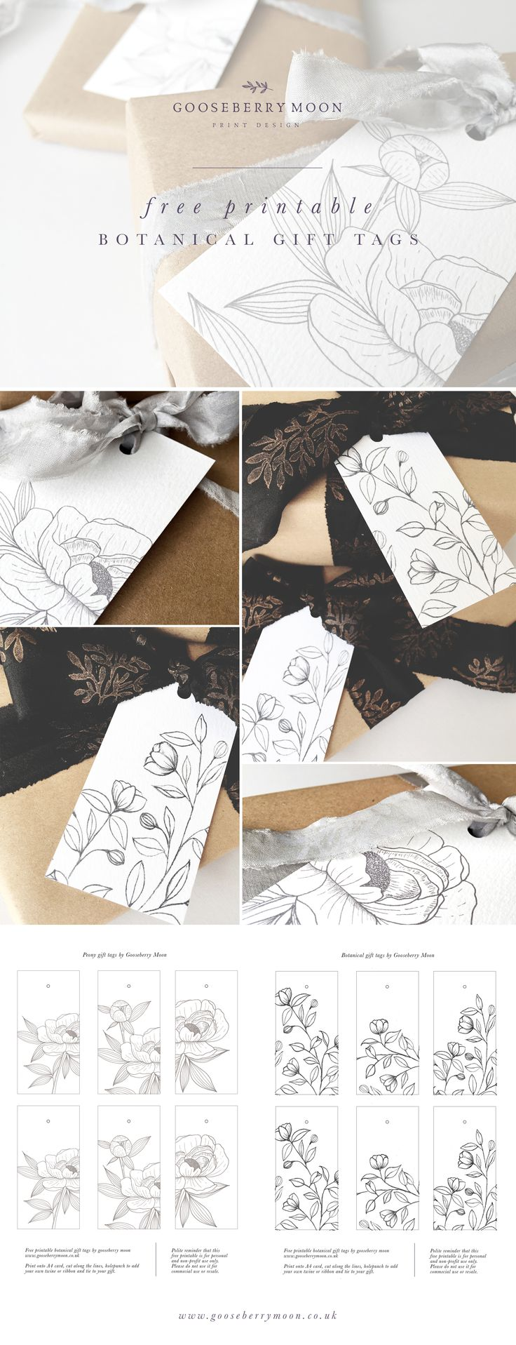 Free printable botanical gift tags by Gooseberry Moon