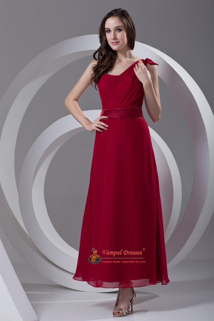 mother wedding dresses mother wedding dresses Stylish A Line One Shoulder Ruffled Ankle Length Chiffon Red Dress For Mother Of Brides