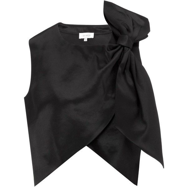 Isa Arfen Black Satin Bow Party Top (19,230 INR) ❤ liked on Polyvore featuring tops, blouses, shirts, crop tops, black, black shirt, satin shirt, black crop top, party shirts and bow blouse