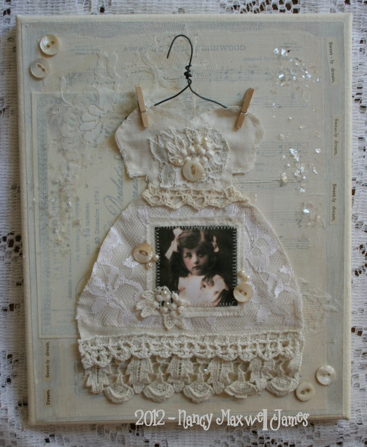 Sweetly Dream Altered Collage Canvas 8 x 10 inches with vintage embellishments. $19.95, via Etsy.