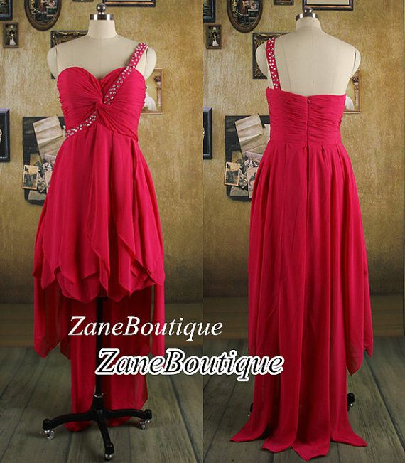 High Low Chiffon Prom Dress Beads One by ZaneBoutiqueDress on Etsy, $99.00