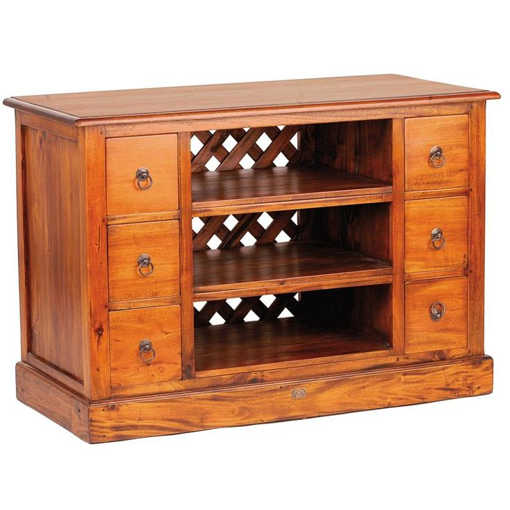 Mahogany Village TV Unit with Six Drawers from Queenstreet Carpets & Furnishings