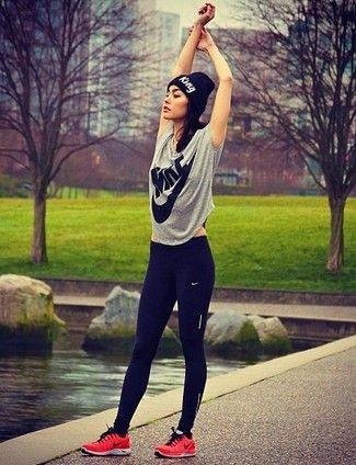 Women's Black Beanie, Grey Print Crew-neck T-shirt, Black Leggings, and Red Athletic Shoes